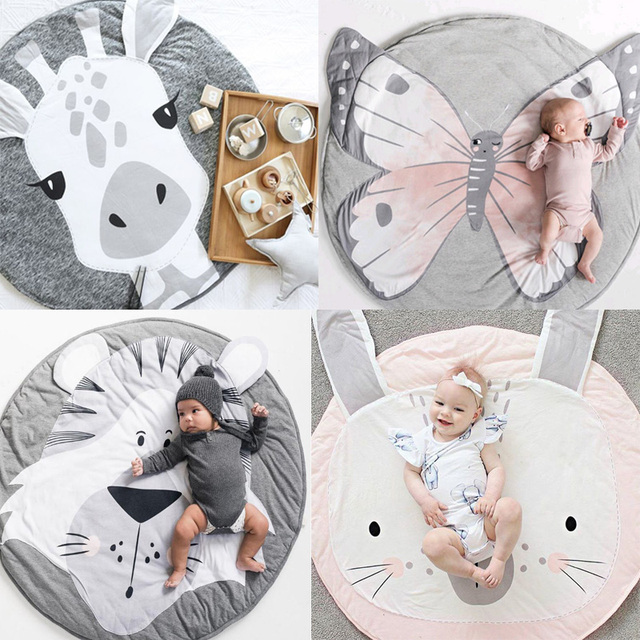 Cartoon Animals Baby Play Mat Foldable Kids Crawling Blanket Pad Round Carpet Rug Toys Cotton Children Room Decor Photo Props