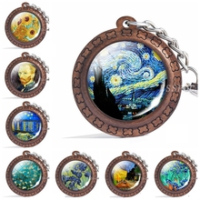 Vintage Wooden Van Gogh Starry Night Keychain Artistic Picture Glass Cabochon Car Key Holder Gift for Lovers