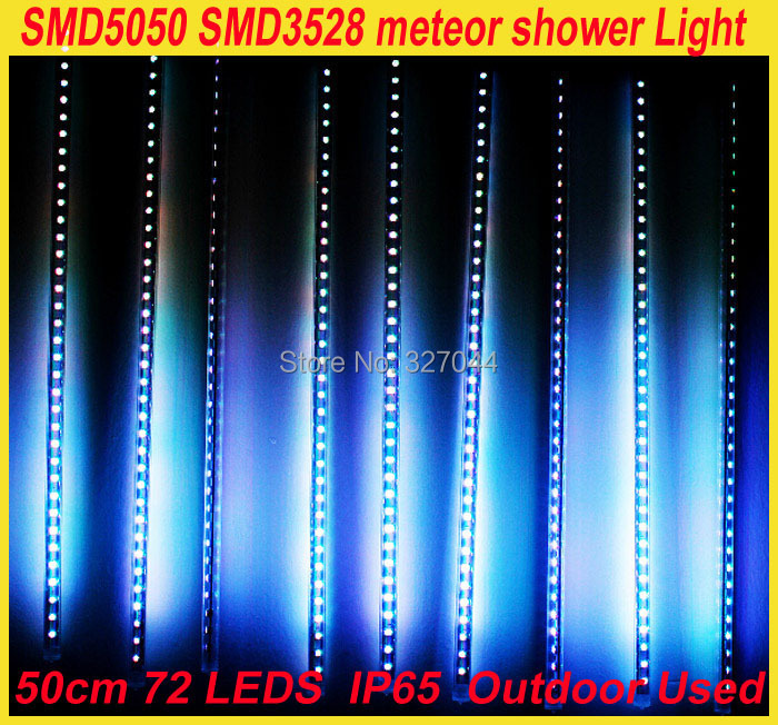 1set Free shipping 50cm 20w 60LEDs SMD 3538 outdoor tube LED meteor lamp shower Tube Light christmas weddling Decoration
