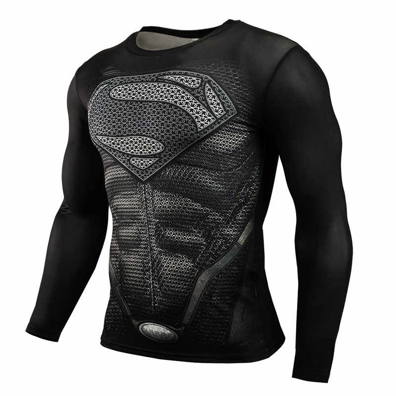 Hot Sale Kebugaran MMA Kompresi Kemeja Pria Anime Binaraga Lengan Panjang Latihan 3D Superman Punisher T Shirt Tops Tees