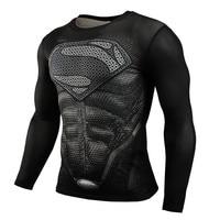 2015 New Sport Fitness Compression Shirt Men Superman Bodybuilding Long Sleeve 3D T Shirt Gym Crossfit