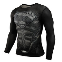 2015 New Sport Fitness Compression Shirt Men Superman Bodybuilding Long Sleeve 3D T Shirt Gym Crossfit