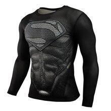Tシャツトップス ホット販売フィットネス格闘技圧縮シャツ男性アニメボディービル長袖ワークアウト スーパーマンパニッシャー 3D