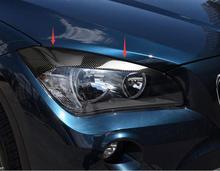 For E84 BMW X1 2010-2015 Car styling Carbon Fiber Head Light Lamp Eyebrow Eyelid Cover