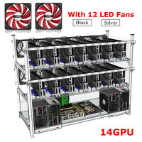 Up To14 GPU Mining Frame 12 Led Fans Aluminum Stackable For For Ethereum BTC Mining Case
