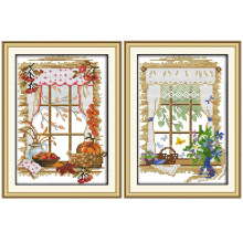 Joy Sunday The windows of four seasons outside the window cross stitch pattern kits handcraft make embroidery with chart