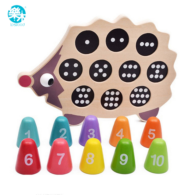 Log Wood Baby educational early learning toy pre-school math learning tool lovely hedgehog balance memory training matching game