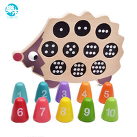 Log Wood Baby educational early learning toy pre school math learning tool lovely hedgehog balance memory training matching game