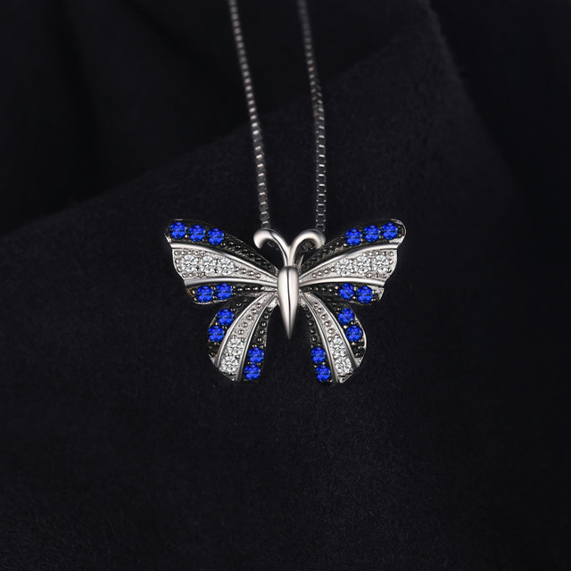 Butterfly Created Spine Pendant Necklace 925