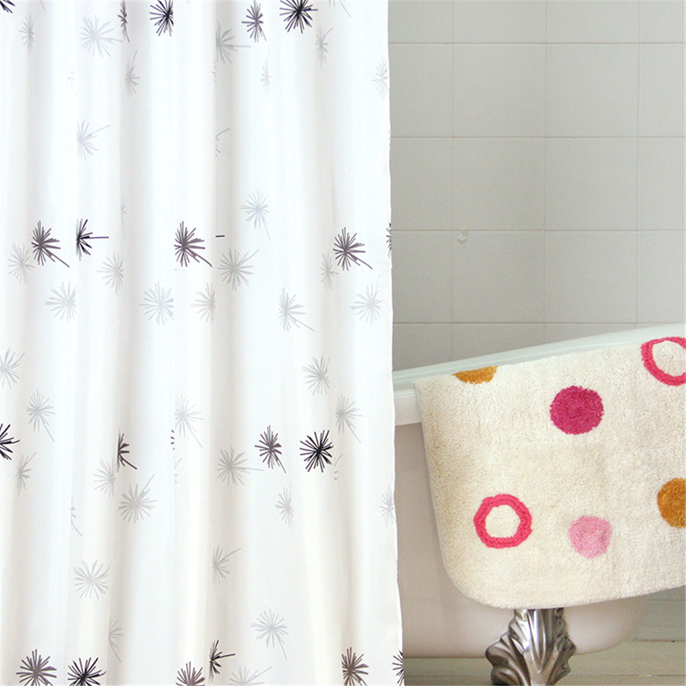 Bathroom plastic curtains - 1pcs 180 180cm 3d Waterproof Polyester Shower Curtain Dandelion Pattern With 12 Plastic Hooks Waterproof