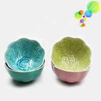 Creative Retro Colorful Ceramic Rose Rice Bowl Kitchen Tableware Glaze Food Containers Lunch Soup Bowl Free