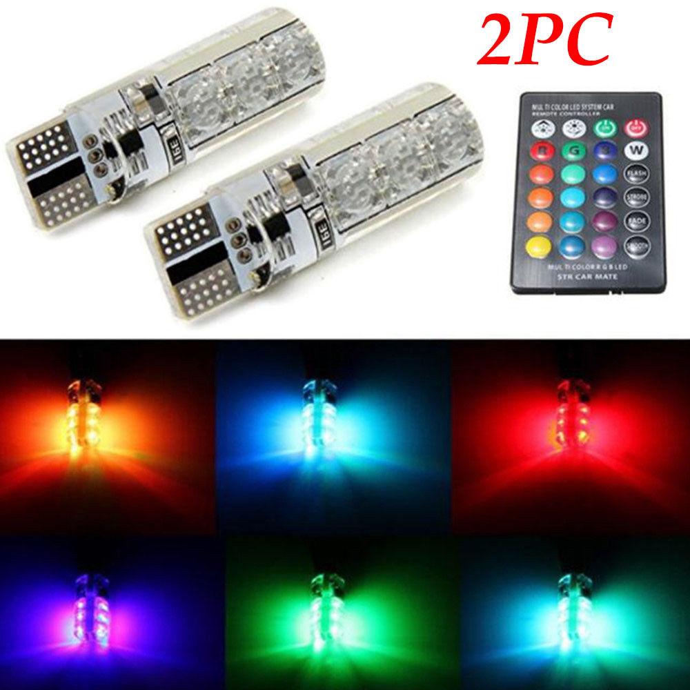2PC T10 <font><b>5050</b></font> <font><b>LED</b></font> RGB Multi-color Interior Wedge Side Light Strobe Remote Control