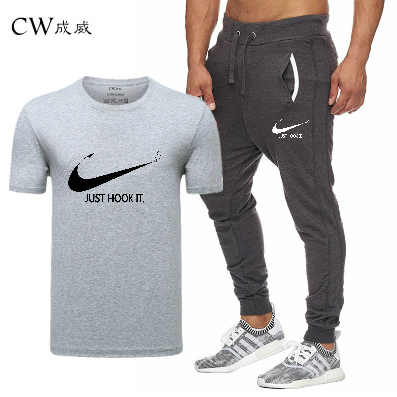 HTB1mrnpiu3tHKVjSZSgq6x4QFXaY 2019 Quality Men T Shirt Sets+pants men Brand clothing Two piece suit tracksuit Fashion Casual Tshirts Gyms Workout Fitness Sets