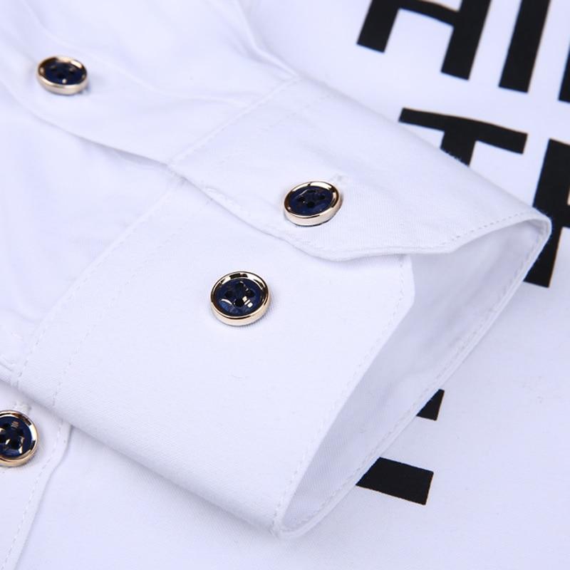 Men long-sleeve shirt Korean style 2019 spring and autumn teenage boy fashion shirt male slim print letter blue black white 4