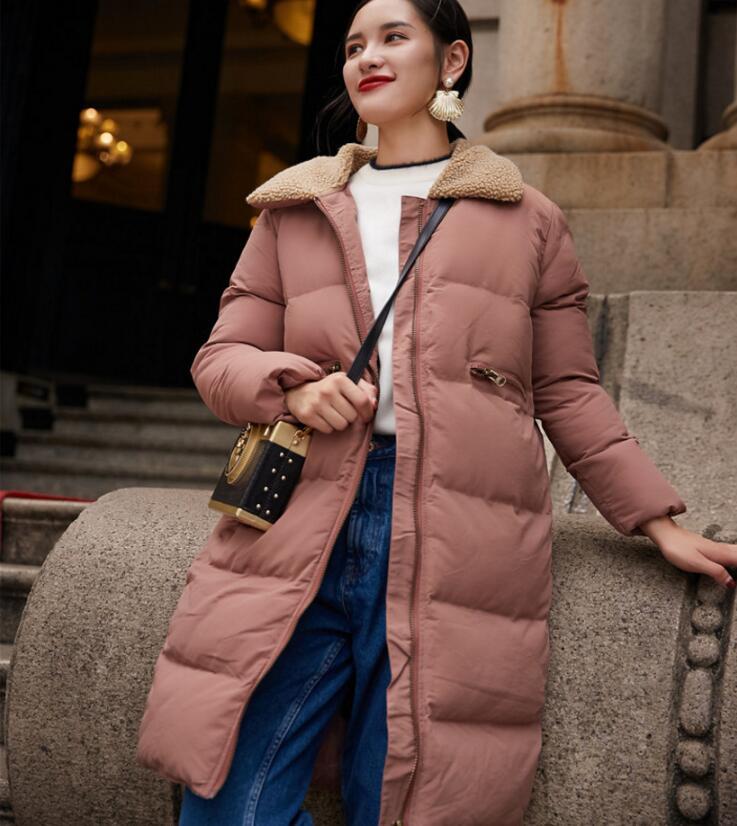 2017 new winter warm Down cotton coat female imitation lamb hair collar padded jacket fashion zipper thickening coat s1291 цены онлайн