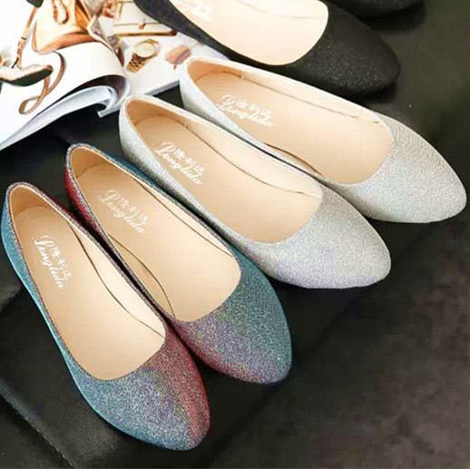 2015 spring and autumn flat heel low single shoes small leather female shoes black silver work shoes