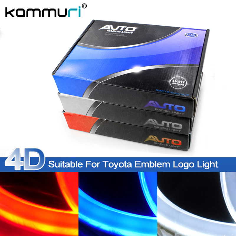 KAMMURI Car Styling 4D Cold light Badge Logo Light for Toyota RAV4 Corolla Yaris Camry Reiz Before Rear Emblem Logo Light car styling car tire valves caps for toyota corolla avensis yaris fj200 prado camry reiz accessories stainless steel car styling