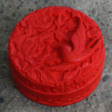 Exquisite Chinese Flower Red Cinnabar Lacquer Beautiful and Bird Auspicious Jewelry Box