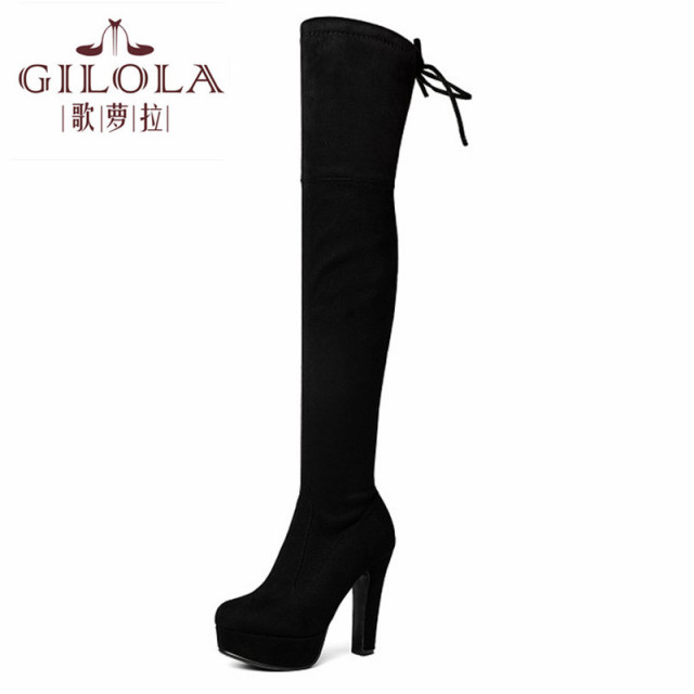 bb16427484177 high heels sexy faux suede snow thigh high women boots shoes woman over the  knee platform autumn winter boots warm  Y0706158F