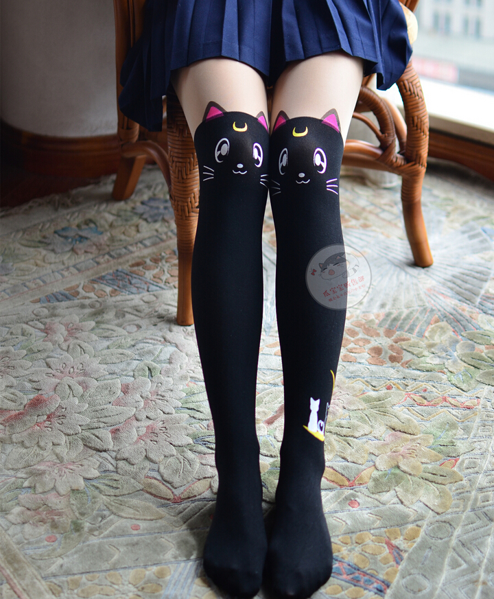 d4ac6a0e3bb Anime Sailor Moon Cosplay Luna Cat Pattern Pantyhose Tights Socks Stockings