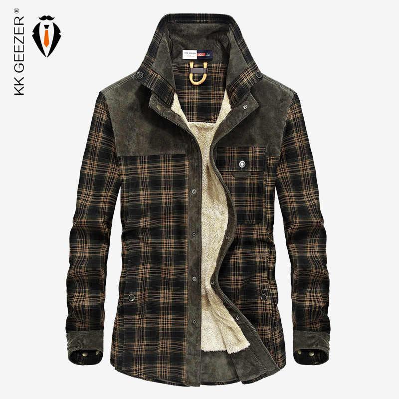 f531c974ba8d3c5 Фланелевая рубашка мужская клетчатая Военная Рубашка 2018 Зимняя Толстая  теплая брендовая хлопковая флисовая модная качественная Свободная
