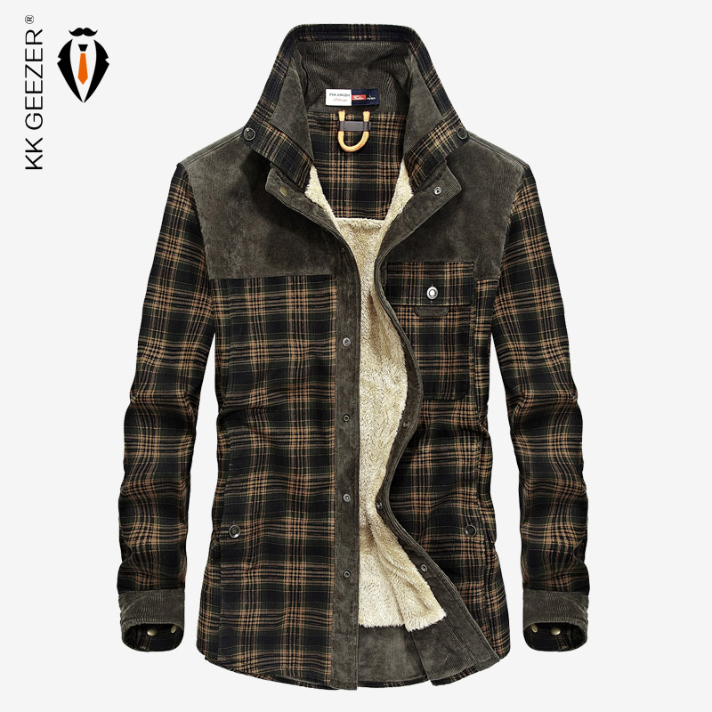 bff1e822e € 35.23 45% de DESCUENTO Camisa de franela para hombre camisa militar a  cuadros 2018 invierno gruesa cálida marca de manga larga de algodón polar  ...