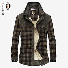 Flannel Shirt Men Winter Plaid Military Fleece Shirt Thick Warm Brand Long Sleeve Cotton Quality Loose Dress Shirt Dropshipping