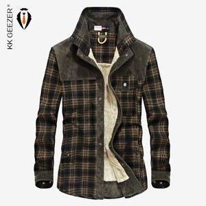 Image 1 - Flannel Shirt Men Winter Plaid Military Fleece Shirt Thick Warm Brand Long Sleeve Cotton Quality Loose Dress Shirt Dropshipping