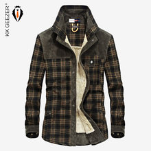 dcfccff0e1 Homens da Camisa de flanela Xadrez Camisa Militar 2018 Grossas de Inverno  Quente Marca Fleece Qualidade Da Moda Solto Vestido de.