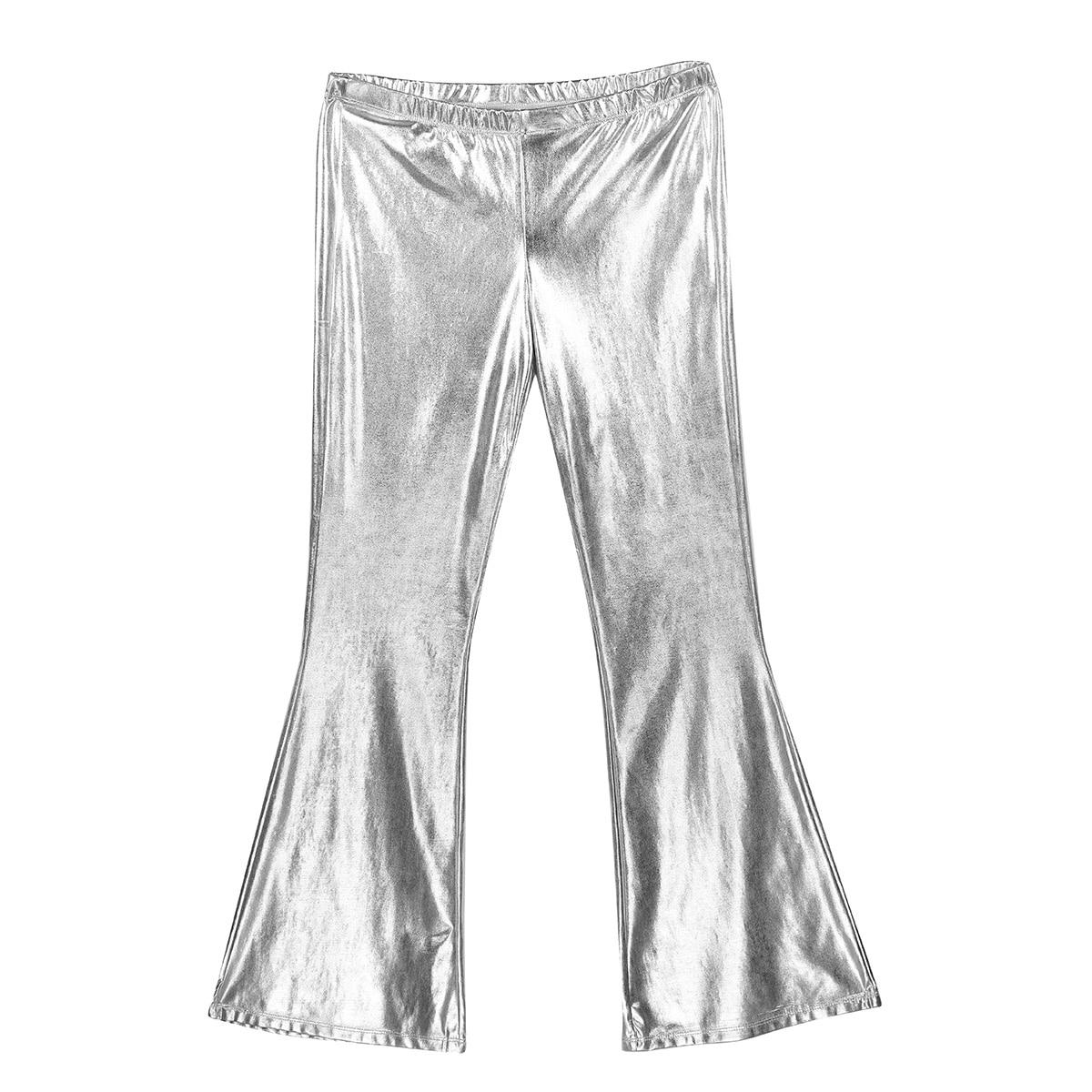 Image 5 - TiaoBug Adult Shiny Metallic Men Retro Disco Pants Long Flare Trouser Club Party Festival Rave Stage Ballroom Jazz Dance CostumeFlare Pants   -