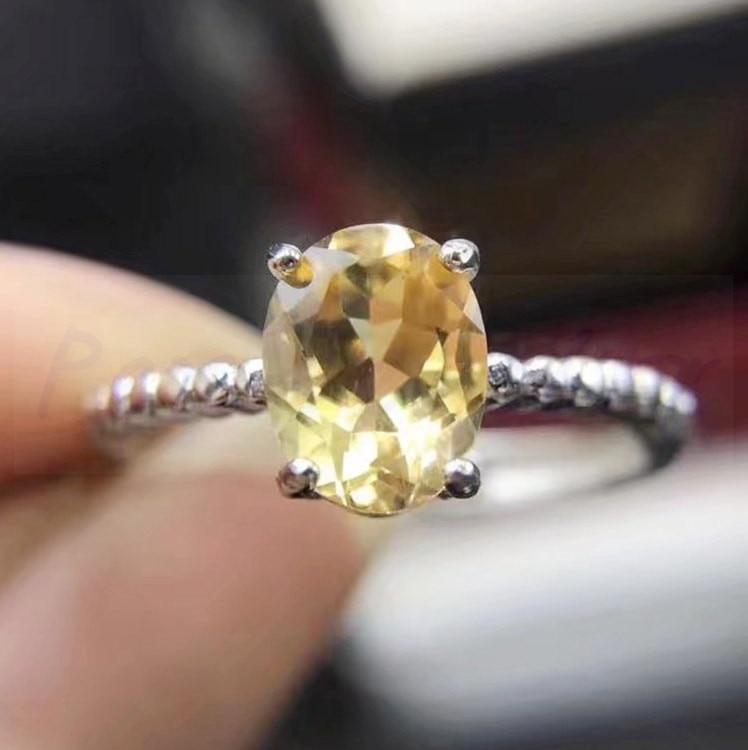 Кольцо с топазом Настоящее натуральное цитрин 925 серебро ювелирные изделия оптом женское кольцо 1.3ct драгоценный камень# H95805 - Цвет камня: plated white gold