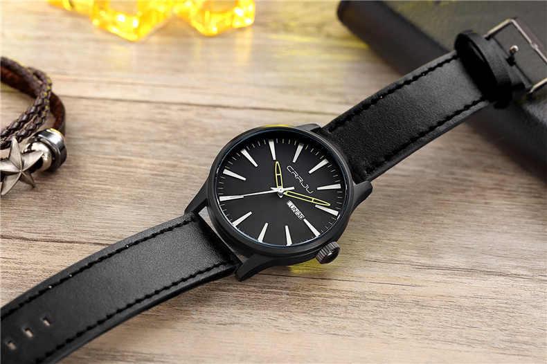 CRRJU męskie zegarki wojskowe Sport wodoodporny zegarek na rękę data tydzień zegarek męski męski brązowy skórzany zegarek kwarcowy mężczyzn zegar Reloj