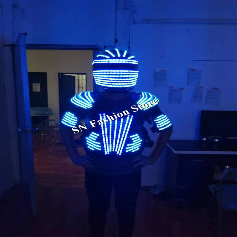 L99 LED helmet ballroom dance led costumes mens robot dance clothes led suit led mask party stage show dj singer wears lighting