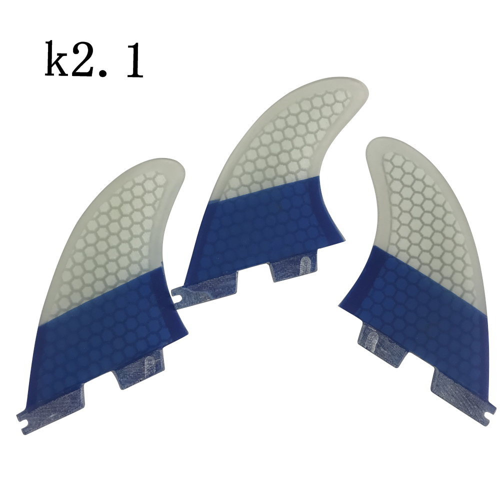 Aletas de tabla de Surf FCS2 K2.1 aletas tri-quad Surf FCSII color azul y blanco Quilhas aletas de panal - 2