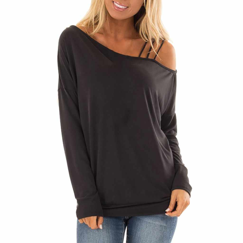 2c0bc6b438e Black Friday women t-shirt Solid Casual Long Sleeve Hem One Strappy Cold  Shoulder Tops