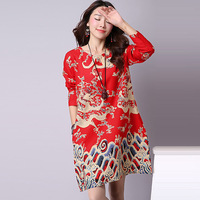 2018 Summer Dresses Chinese Style Large Size Dresses Women Print China Long Sleeves Colorful Size Dress