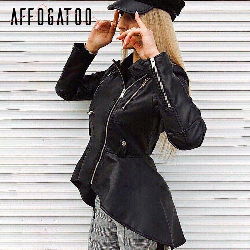 Affogatoo Faux   leather   jackets coats women Black pu   leather   coat motorcycle jackets 2018 Zipper winter coats jackets female