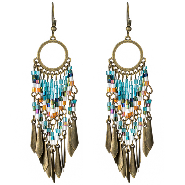 Vintage long fringe earrings for women jewelry Boho colorful resin black crystal pendant tassel earring Ethnic drop earings gift