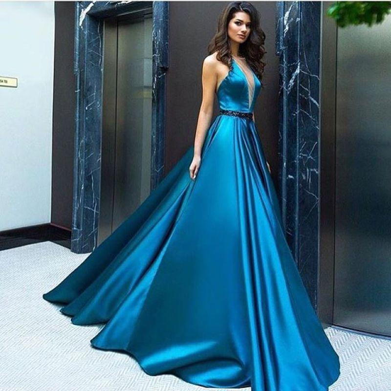 Fashion Evening Dress Satin A-Line Floor Length Elegant Long Party Dress For Weddings Vestido De Festa Longo Custom Made