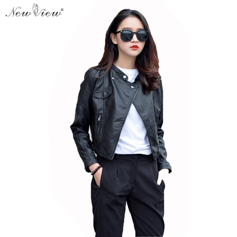 2017 Leather Jacket Women Spring Winter PU Motorcycle Leather Coats Female Ladies Slim Casual Jaqueta De Couro Feminino Mujer