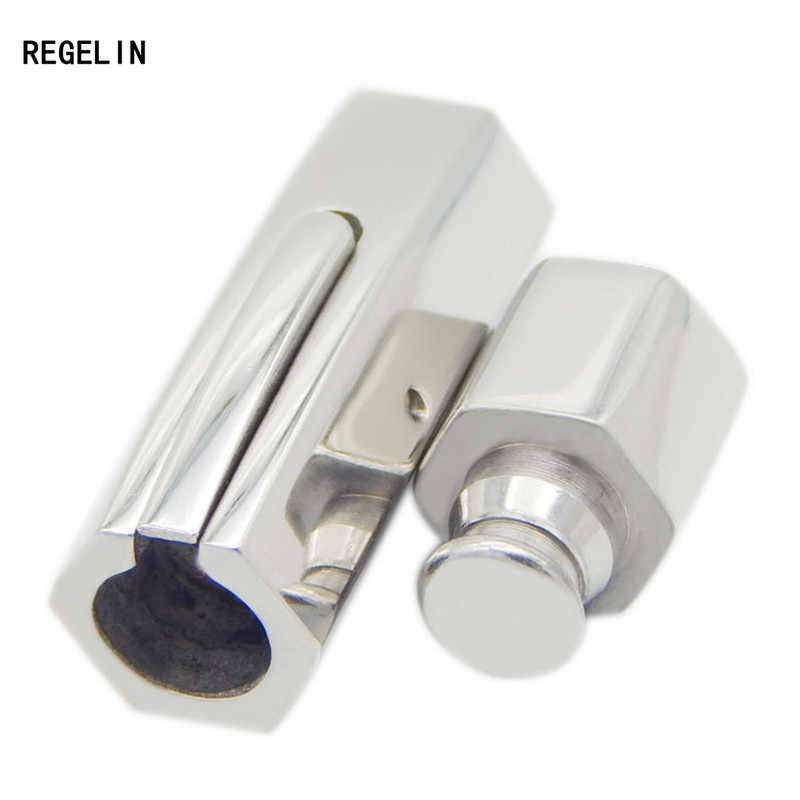 REGELIN Silver Tone 316L Stainless Steel Hexagonal Column Magnetic Clasps Hooks 3/4/5/6MM Round Leather Cord Bracelet End Clasps