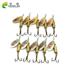 HENGJIA 10pcs Spinner Baits Fishing Lure Spoon Paillette isca Artificial Spoon Lure pesca Bass Lure Metal Sequin Bait 7.3g 6.7cm