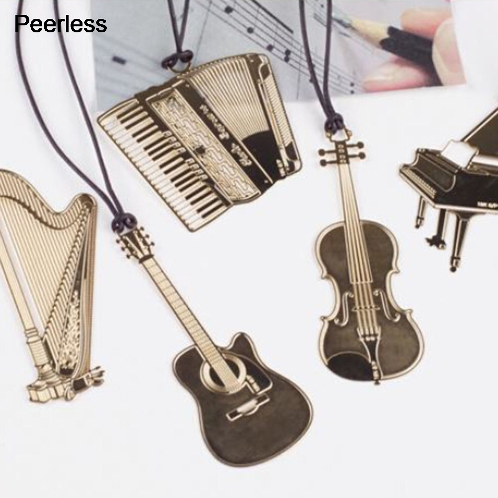 Peerless Gold Metal Bookmarks Retro Instrument Guitar Violin Shape Cutout Bookmark