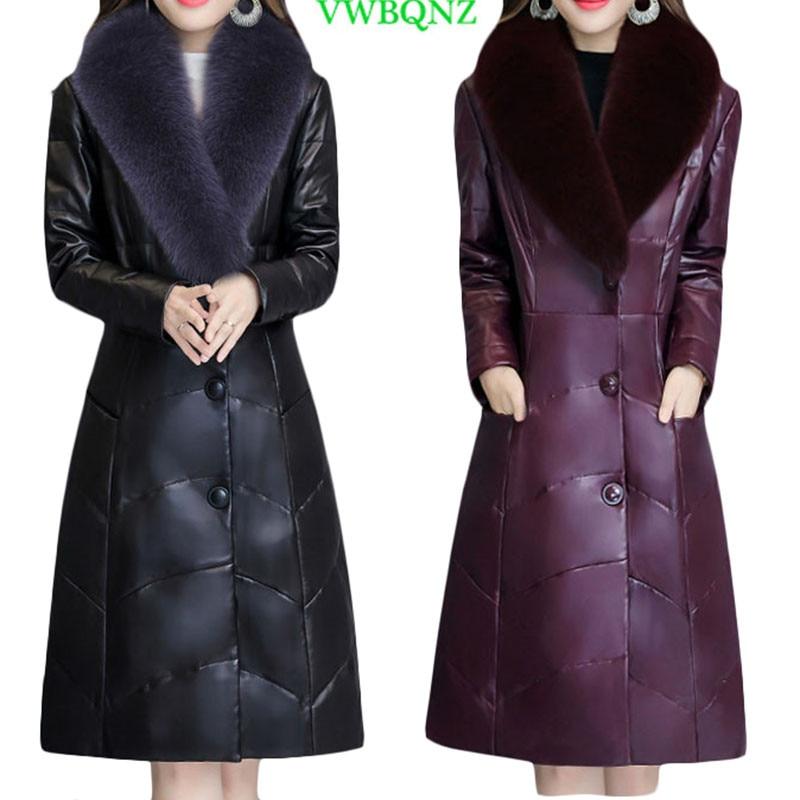 Fashion Winter Long Women's   Leather   Jackets Casual Imitation Faux Fur Coat Female Outerwear Plus size PU   Leather   Jacket 4XL A790