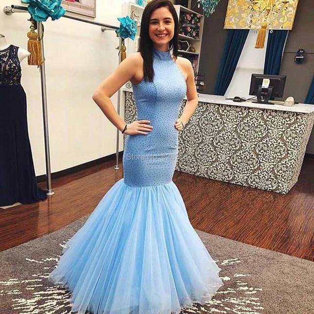 b68ebfdeed YNQNFS PD52 Elegant Halter Trumpet Mermaid Prom Dresses Light Sky Blue 2018