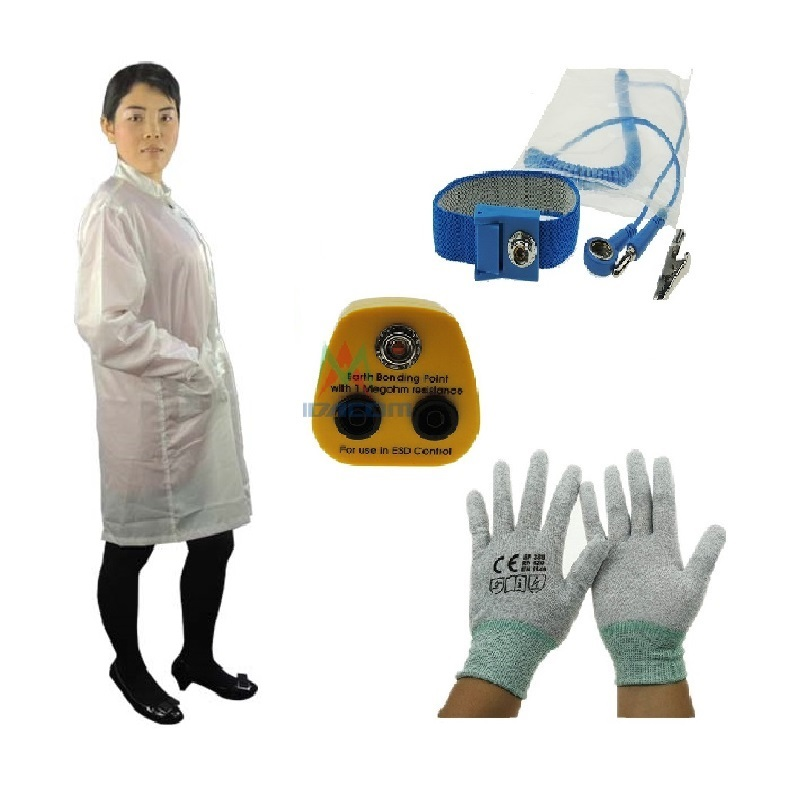 Polyester Cleanroom Working Vests ESD Smock Workwear ESD Safety Cothing with Antistatic Wrist Strap ESD Gloves and ESD Plug esd 1000