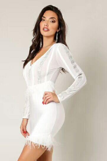 V Femmes Manches Bandage Nouveau Blanc Moulante Robe De Robes À Sexy Col 2019 Mini Dropshipping Longues 5S0XqwS
