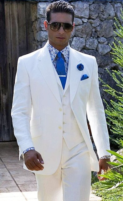 2018 Summer White Linen Suit Men Blazer Designs Beach Wedding Tuxedos Prom Slim Fit