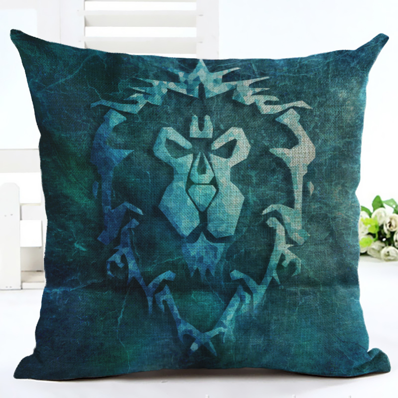 2016 WOW Warcrafted movie The ALLIANCE Throw Pillow Case Home Sofa Bedside Backrest Decoration Cushion Cover 3D in Cushion Cover from Home Garden