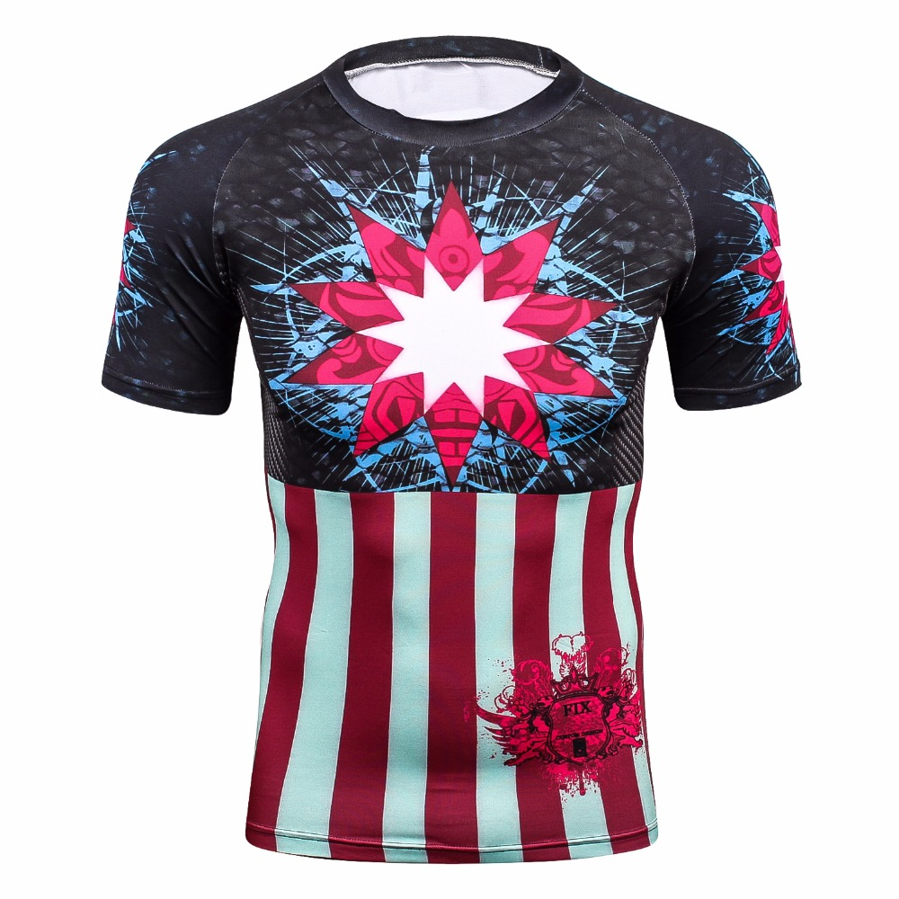 Cool Captain America shield skull punisher 3D Printed T shirt Mens Youth Base Layer Bodybuilding Skin Shirt MMA Tight T-shirt